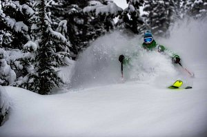 skier in deep powder in the trees